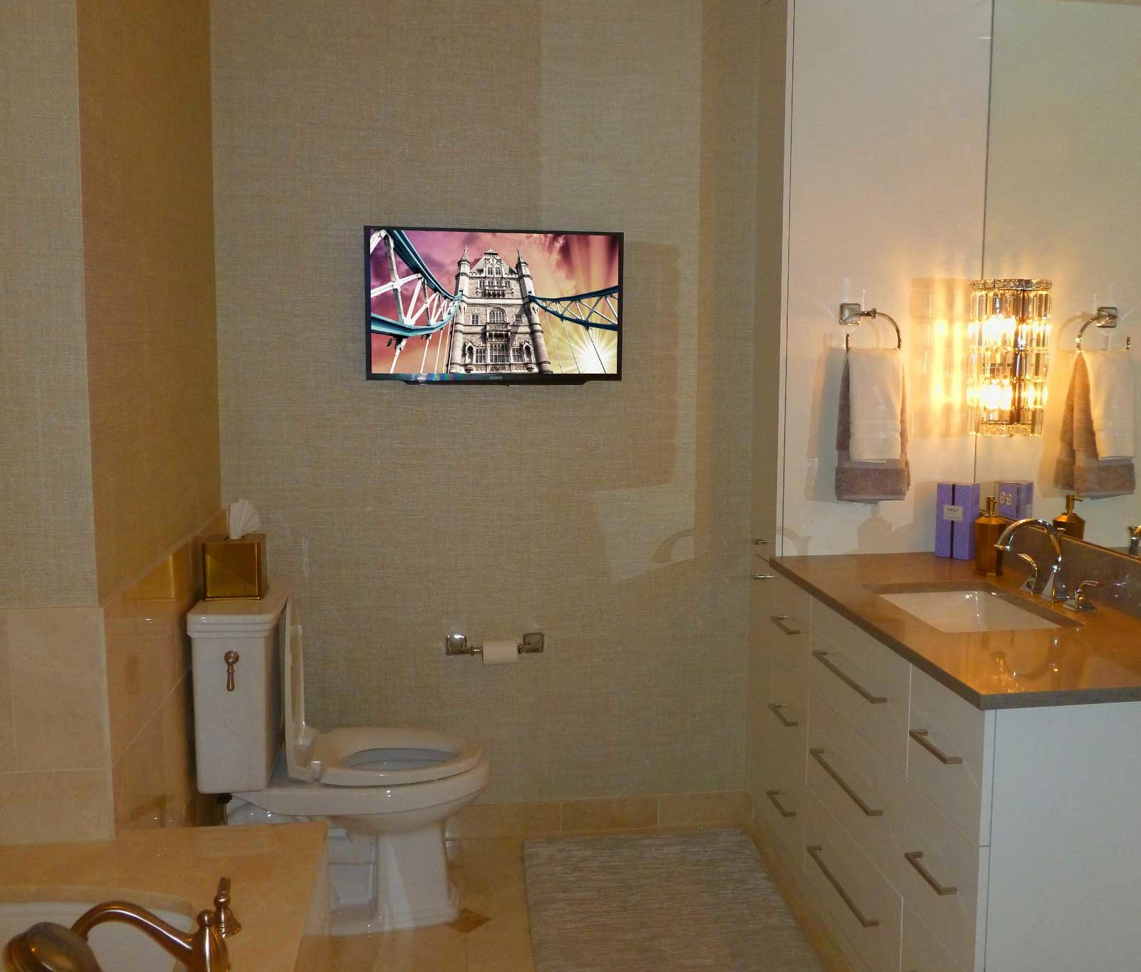 TV in Rittenhouse Square Condo Bathroom