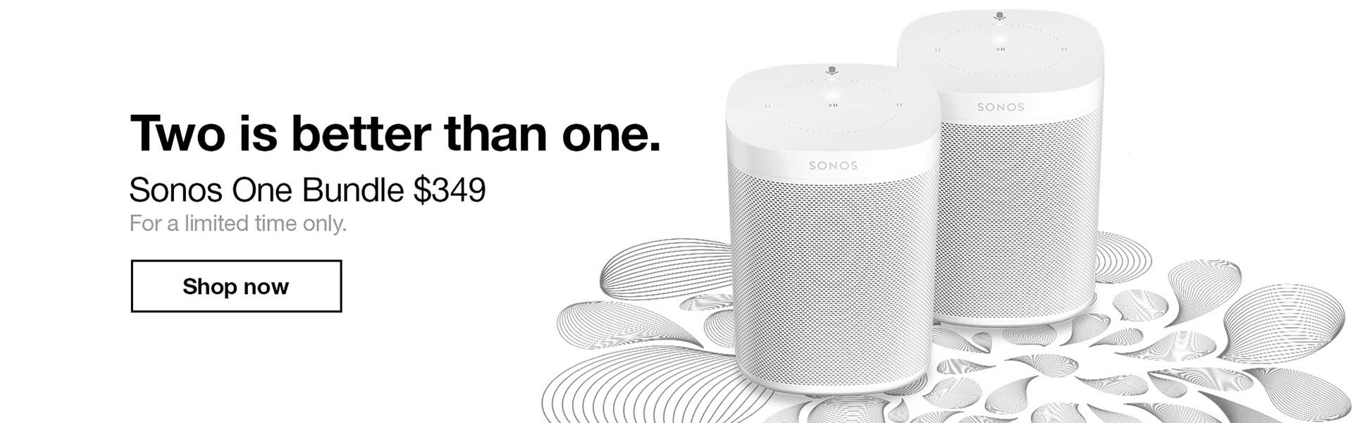 Save $49 when you purchase two Sonos One Voice-Controlled Smart Speakers together and save even more with our expertly curated bundles. Discover what Sonos & Amazon Alexa can do for you.