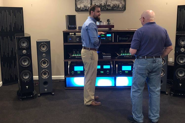 Austin giving a demo of the speakers
