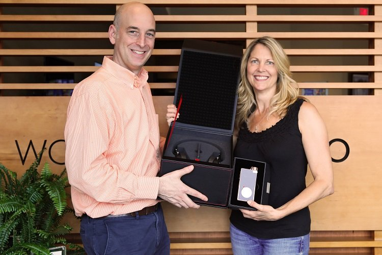 Rob with our grand prize winner of the Focal Utopia headphones and music player