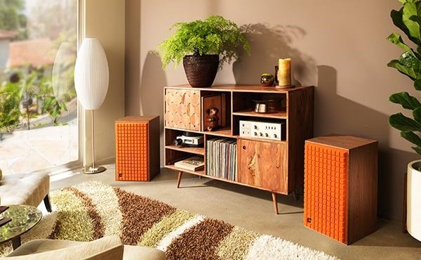 Reissued JBL L100 classic speaker in orange