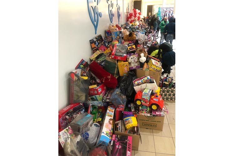 Our donations to the toy mountain to benefit the OSU and The Boys and Girls Club of New Jersey.
