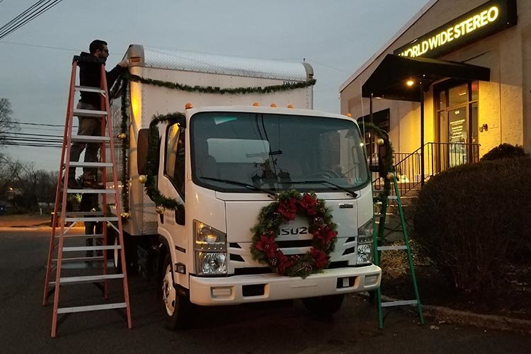 Getting the truck ready for the Toy Truck Parade.
