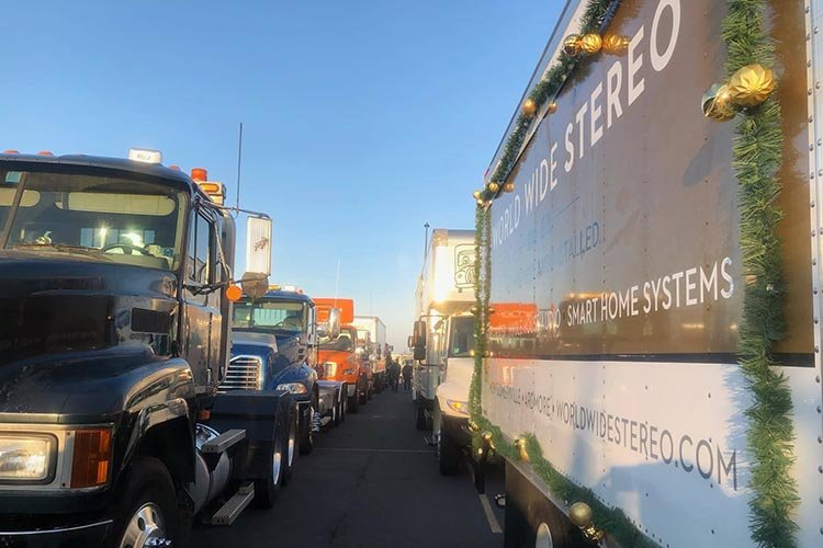 All the trucks getting ready for the parade