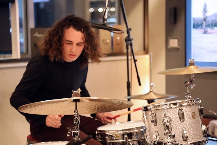 Close up of the drummer