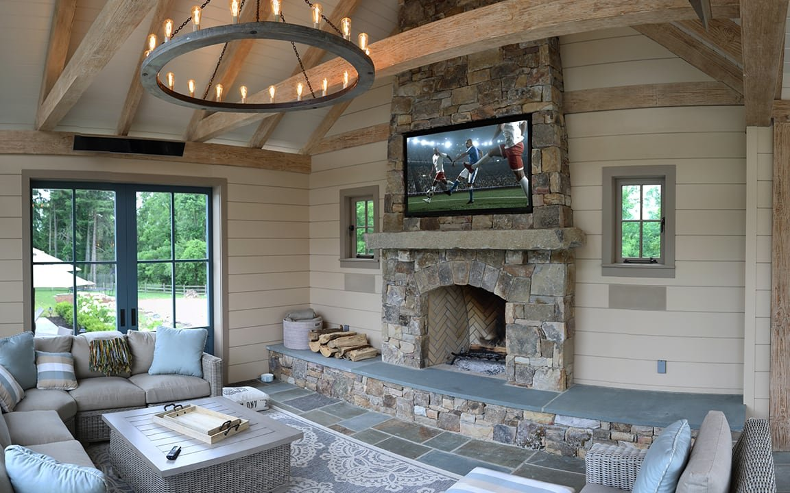 TV in a pool house