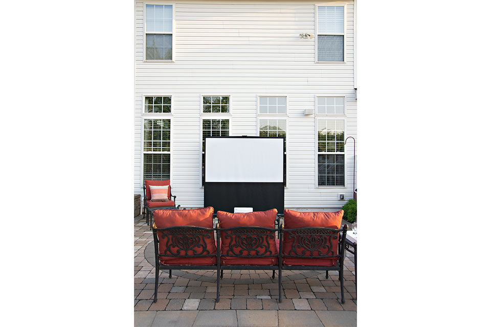 Projector screen and seating