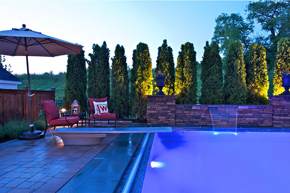 Lighted pool at dusk