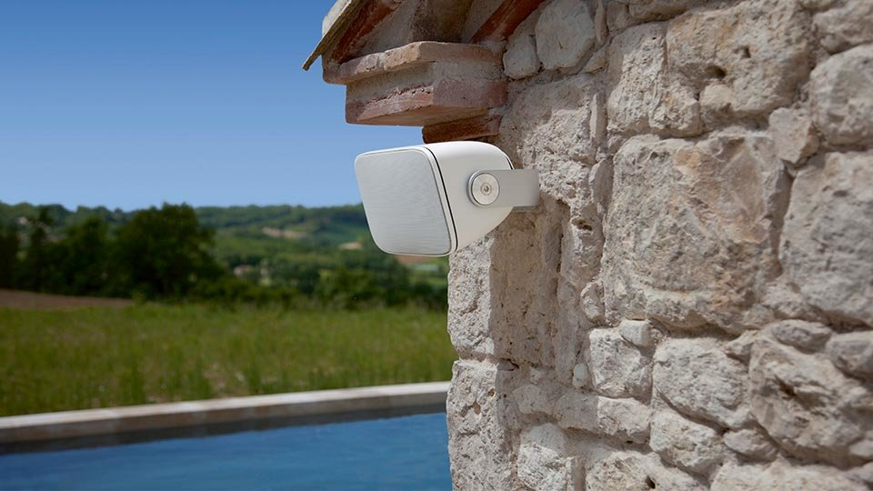 Wall mounted outdoor Bowers and Wilkins speaker