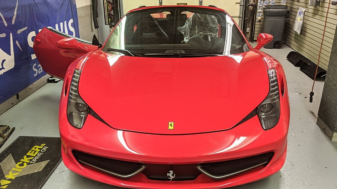 Front View of Ferrari 458 in Car Bay