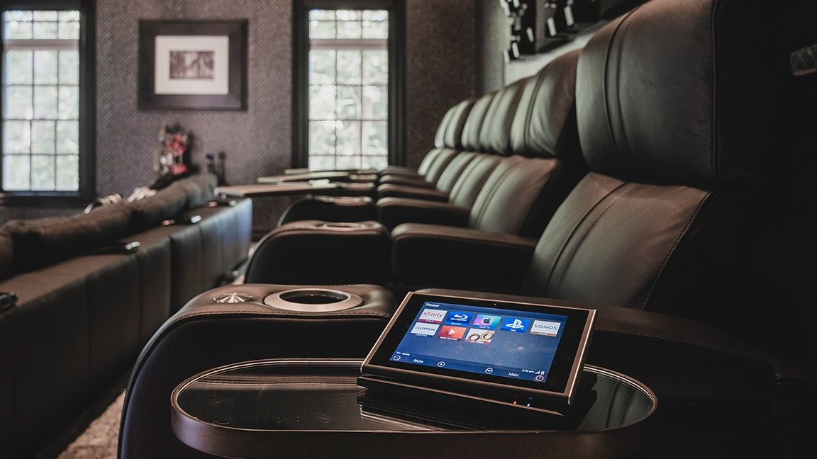 home theater recliner with tablet for control