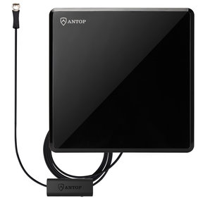Flat-Panel AT-207B Indoor HDTV Antenna with Smartpass Amplifier and Built-In 4G LTE Filter (Black)