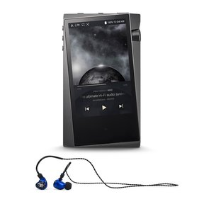 A&norma SR15 Portable Music Player (Dark Gray) with Billie Jean Universal Fit Earbuds (Blue)