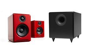 A2+ Limited Edition Premium Powered Desktop Speaker Package (Red) With S8 Premium Powered Subwoofer
