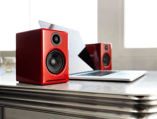 View Larger Image of A2+ Limited Edition Premium Powered Desktop Speakers Package (Red) With B1 Bluetooth Music Receiver and DS1 Desktop Speaker Stands