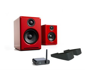 A2+ Limited Edition Premium Powered Desktop Speakers Package (Red) With B1 Bluetooth Music Receiver and DS1 Desktop Speaker Stands