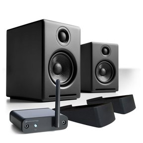 A2+ Limited Edition Premium Powered Desktop Speakers Package With B1 Bluetooth Music Receiver and DS1 Desktop Speaker Stands