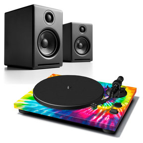 A2+ Premium Powered Desktop Speakers (Black) with Teac TN-420 Turntable (Tie-Dye)