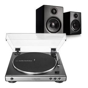 A2+ Premium Powered Wireless Desktop Speakers (Black) with Audio-Technica AT-LP60X-GM Fully Automatic Belt-Drive Stereo Turntable (Gunmetal/Black)