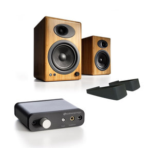 A5+ Classic Powered Bookshelf Speakers with Stands and D1 Premium 24-Bit DAC with Headphone Amp