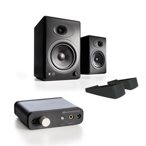 A5+ Premium Powered Bookshelf Speakers with Stands and D1 Premium 24-Bit DAC with Headphone Amp