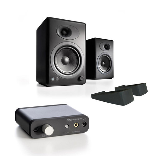 View Larger Image of A5+ Speaker System with Stands and D1 Premium 24-Bit DAC with Headphone Amp