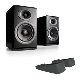 P4 Premium Passive Bookshelf Speakers with DS2 Desktop Speaker Stands