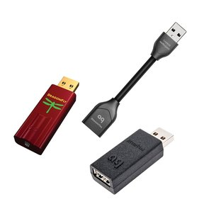 DragonFly Red v1.0 USB DAC with JitterBug USB Data and Power Noise Filter Package with DragonTail USB 2.0 Extender