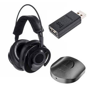 NightHawk Carbon Over-Ear Headphones with Beetle Optical Bluetooth USB DAC (Digital-to-Analog Converter) and Jitterug USB Data and Power Noise Filter