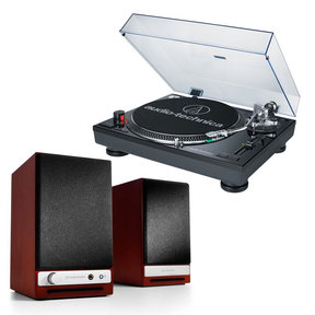 AT-LP120BK-USB Direct-Drive Professional USB & Analog Turntable (Black) with Audioengine HD3 Wireless Powered Speakers (Cherry)
