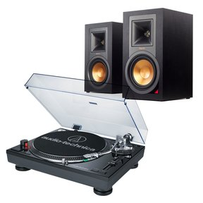 AT-LP120BK-USB Direct-Drive Professional USB & Analog Turntable with Klipsch R-15PM Reference Power Monitor Speakers - Pair