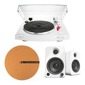 AT-LP3 Fully Automatic Belt-Drive Stereo Turntable (White) and Kanto Powered Bookshelf Speakers with BT and Phono Preamp - Pair (Gloss White) and WWS Cork Slipmat
