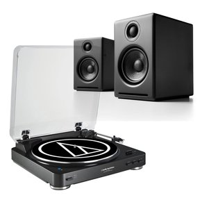 AT-LP60 Fully Automatic Stereo 2-Speed Turntable System (Black) with Audioengine A2+ Premium Powered Desktop Speakers