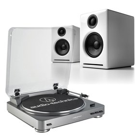 AT-LP60 Fully Automatic Stereo 2-Speed Turntable System (Silver) with Audioengine A2+ Premium Powered Desktop Speakers