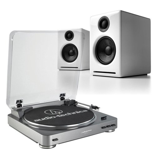 View Larger Image of AT-LP60 Fully Automatic Stereo 2-Speed Turntable System (Silver) with Audioengine A2+ Premium Powered Desktop Speakers
