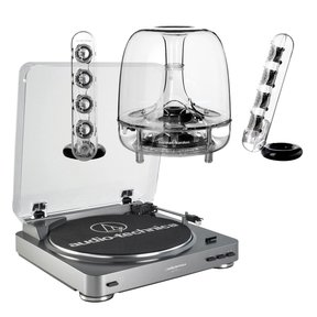 AT-LP60 Fully Automatic Stereo 2-Speed Turntable System with Harman Consumer SoundSticks III 2.1 Plug and Play Multimedia Speaker System