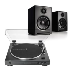 AT-LP60X Fully Automatic Belt-Drive Stereo Turntable with Audioengine A2+ Premium Powered Wireless Desktop Speakers - Pair
