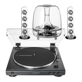 AT-LP60X Fully Automatic Belt-Drive Stereo Turntable with Harman Kardon SoundSticks III 2.1 Plug and Play Multimedia Speaker System