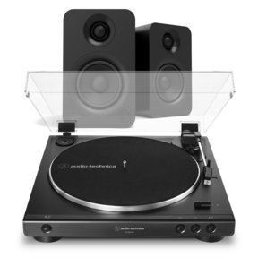 AT-LP60XUSB Fully Automatic Belt-Driven Stereo Turntable with USB Output (Black) and Kanto YU Powered BT Bookshelf Speakers (Matte Black)