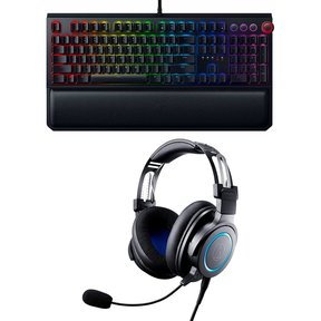 ATH-G1 Premium Gaming Headset Bundle with Razer BlackWidow Elite Wired Gaming Mechanical Keyboard (Green Clicky switches)