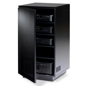 Mirage 8222 Enclosed A/V Tower (Satin Black with Black Glass Top)