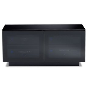 Merveilleux Mirage 8224 Double Wide Enclosed Cabinet (Satin Black With Black Glass Top)