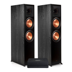 Powernode 2i V2 Stereo Speaker System with Klipsch RP-8000F Reference Premiere Floorstanding Speakers - Pair (Ebony)