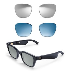 Frames Alto M/L Bluetooth Audio Sunglasses with Integrated Microphone and Two Replacement Lenses (Mirrored Silver and Blue)