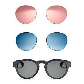 Frames Rondo Bluetooth Audio Sunglasses with Integrated Microphone (Black) and Two Replacement Lenses (Blue and Mirrored Rose Gold)