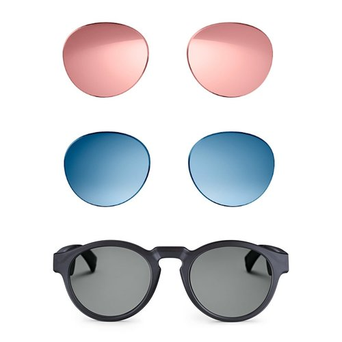View Larger Image of Frames Rondo Bluetooth Audio Sunglasses with Integrated Microphone (Black) and Two Replacement Lenses (Blue and Mirrored Rose Gold)