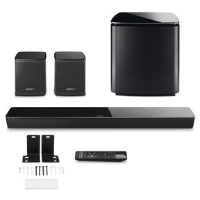SoundTouch 300 Soundbar with Bose Acoustimass 300 Wireless Bass Module Subwoofer, Bose Virtually Invisible 300 Wireless Surround Speaker Pair and Bose WB-300 Wall Bracket Kit
