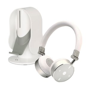 BT Quality Bluetooth Wireless On-Ear Headphones with Heads Up Base Stand (White)
