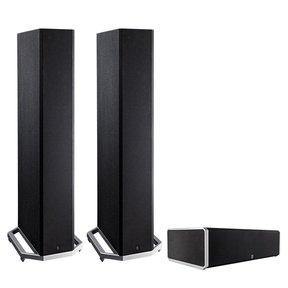 """BP9020 High Power Bipolar Tower Speakers with Integrated 8"""" Subwoofer and CS9040 High-Performance Center Channel Speaker (Black)"""