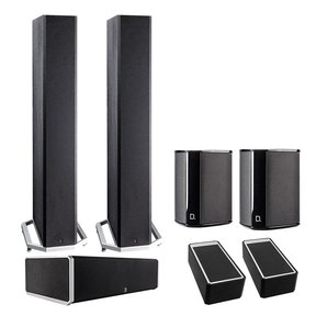 BP9040 5.0 High Power Bipolar Tower Speaker Package with Integrated Subwoofers and Dolby Atmos Modules (Black)